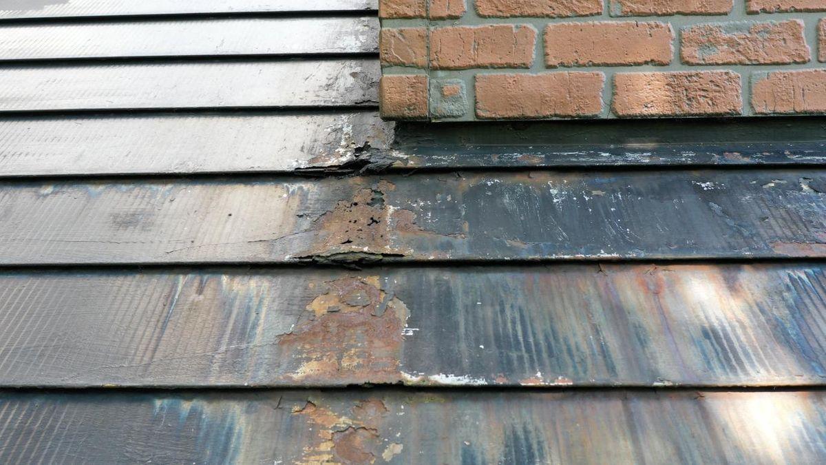 高所屋根の劣化確認