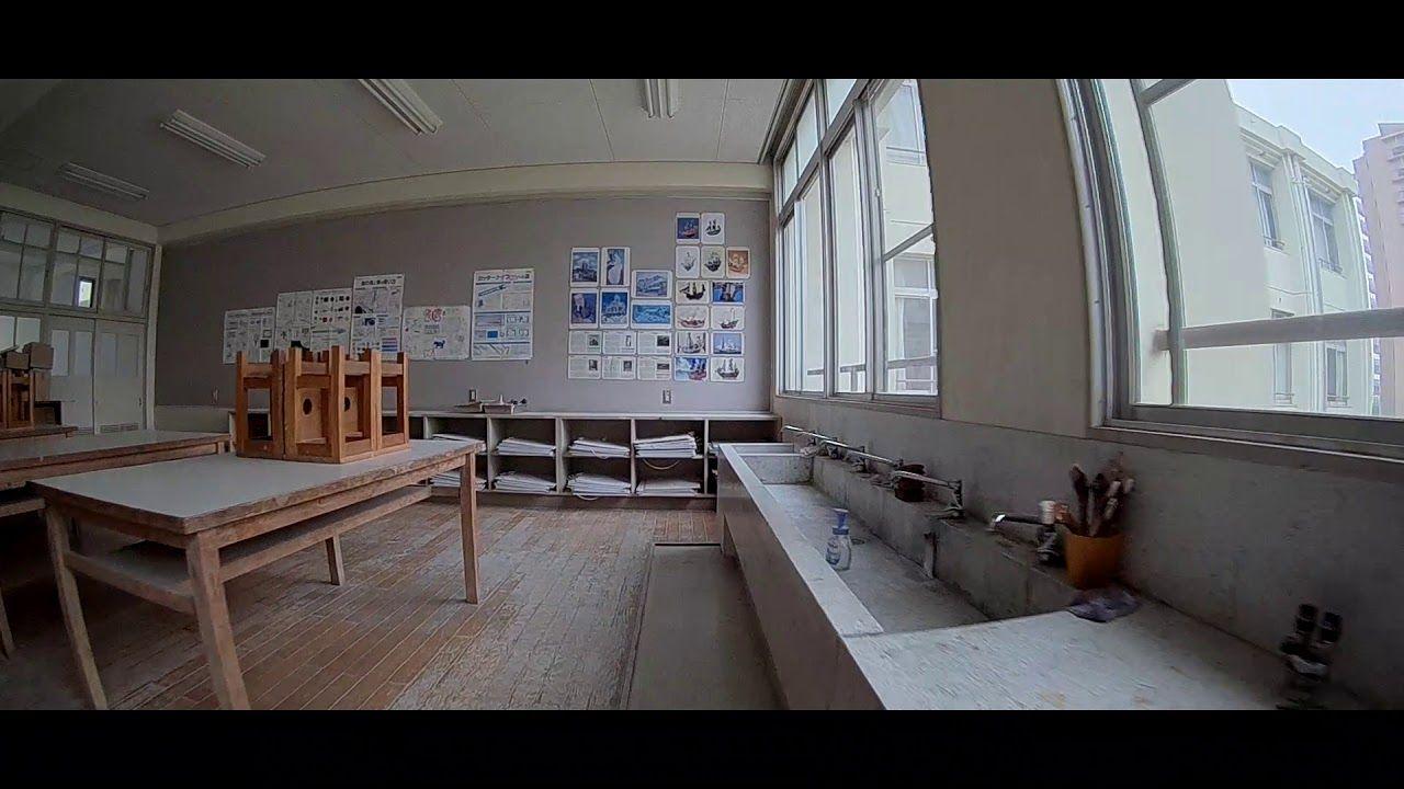 マイクロドローン 校舎撮影